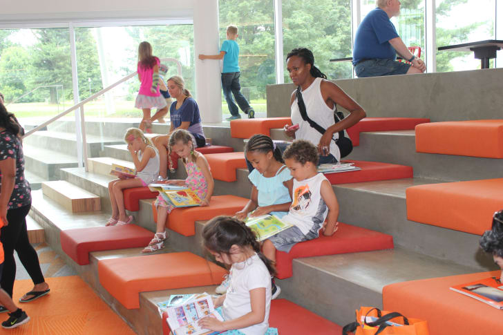 Children reading in library.