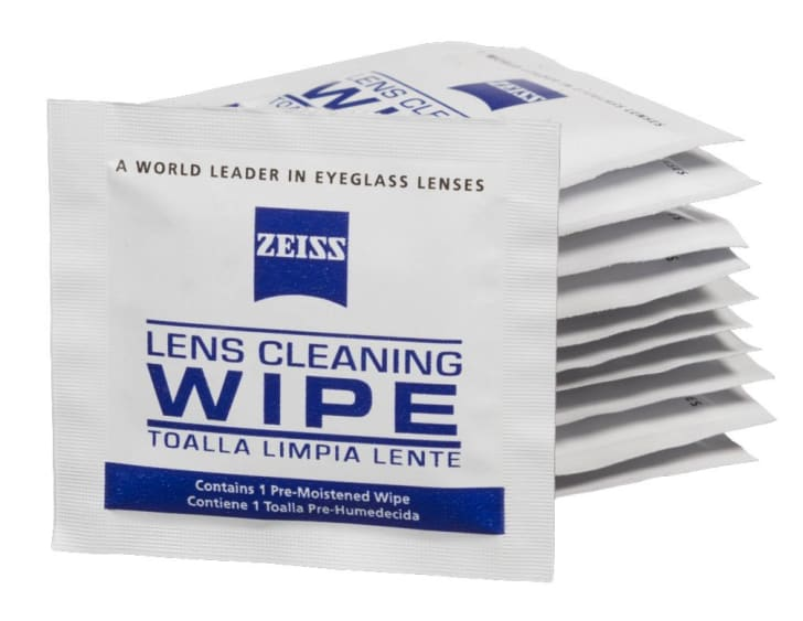 The white-and-blue packaging of the Zeiss lens cleaning wipe on a white background.