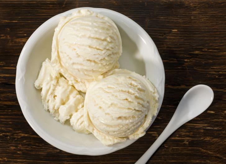 bowl of vanilla ice cream