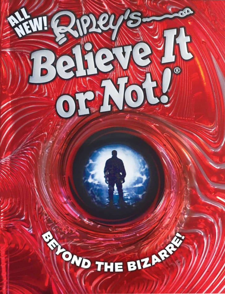 The cover to a 'Ripley's Believe It or Not!' book is pictured