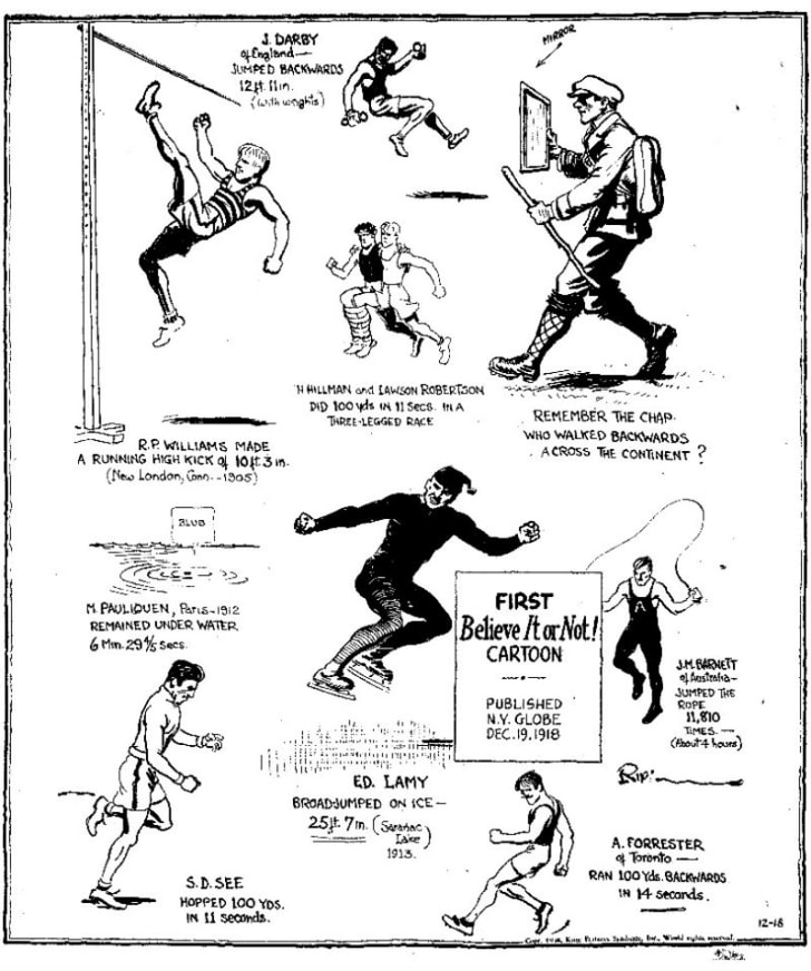 Robert Ripley's art for his 'Champs and Chumps' cartoon from December 19, 1918 is pictured