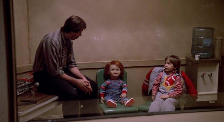 Brad Dourif, Jack Colvin, Tommy Swerdlow, and Alex Vincent in Child's Play (1988)