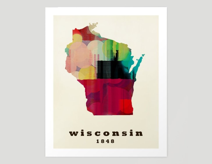A poster featuring a colorful map of Wisconsin