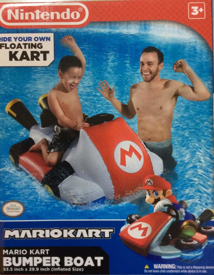 The box of a Mario Kart pool float
