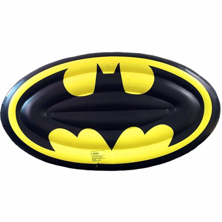 A pool float shaped like the Batman logo
