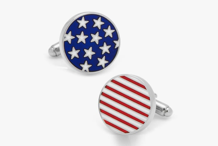 Cufflinks with images of stars and stripes on them