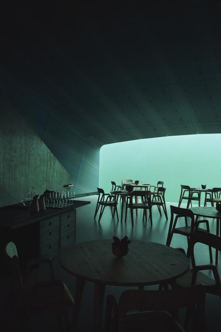 Dining room of Under, the underwater restaurant.