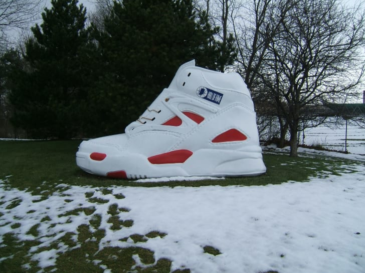 a big shoe outside of the Indiana Basketball Hall of Fame