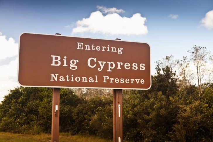 National Park Service sign at Big Cypress National Preserve, Florida