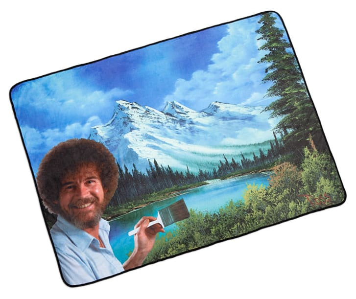 A Bob Ross-themed blanket