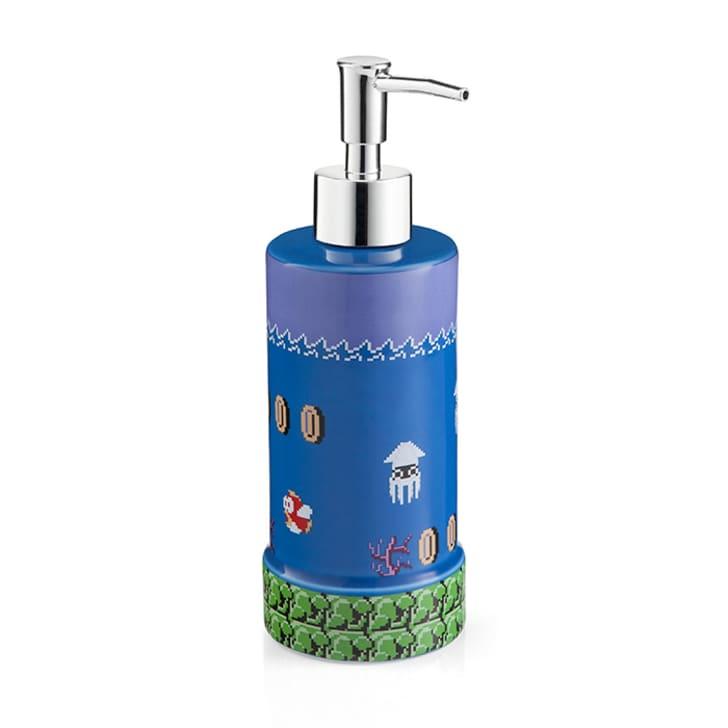 A Mario-themed soap pump