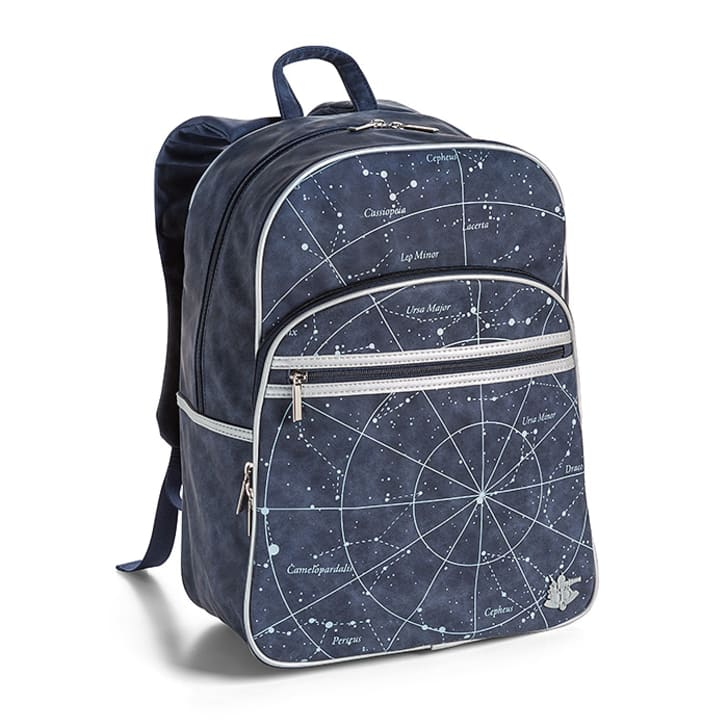 A navy blue constellation-themed backpack
