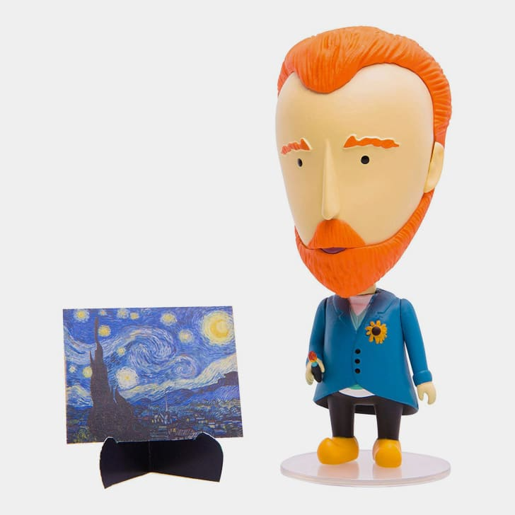 A van Gogh action figure next to a miniature 'Starry Night' painting