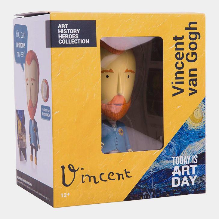 A boxed Vincent van Gogh action figure