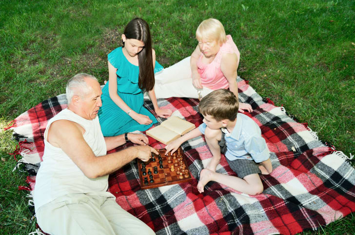 Grandparents and their grandchildren sit on a picnic blanket playing chess and reading.
