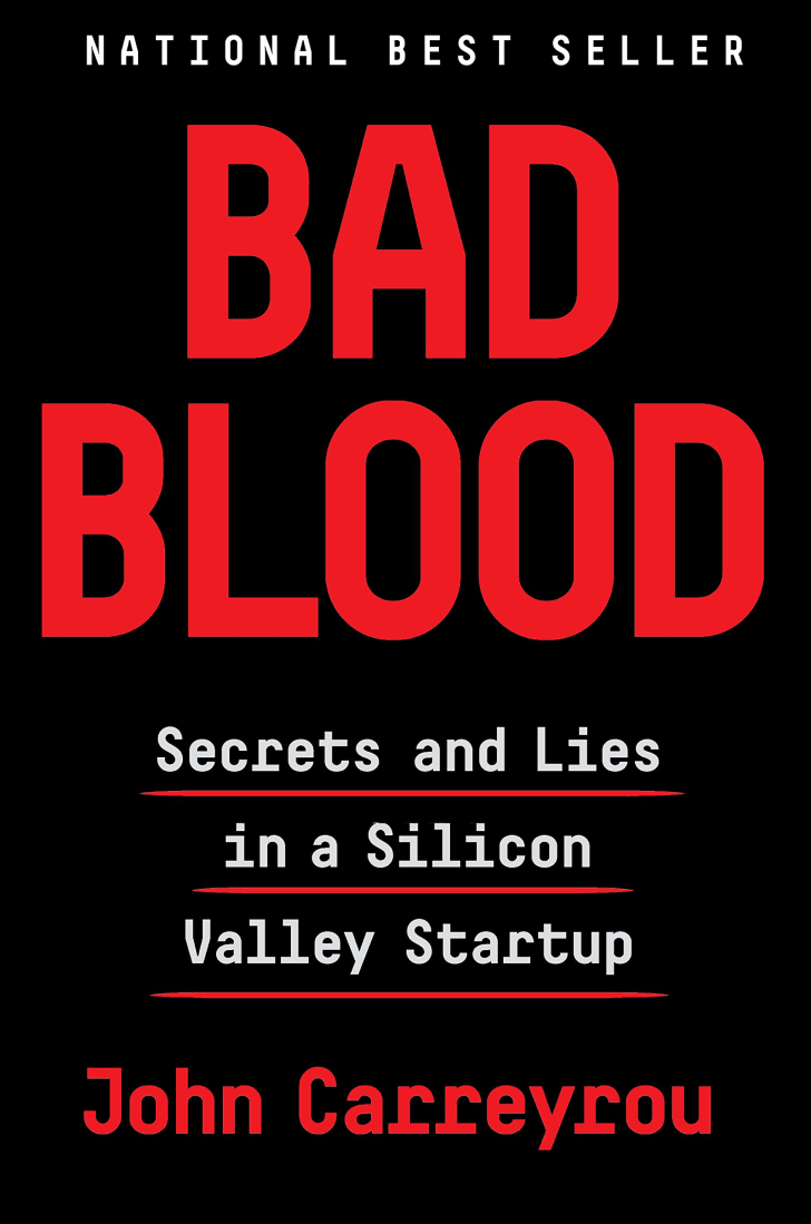 The cover of John Carreyrou's book 'Bad Blood.'
