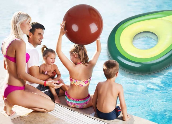 Family by pool with avocado float.