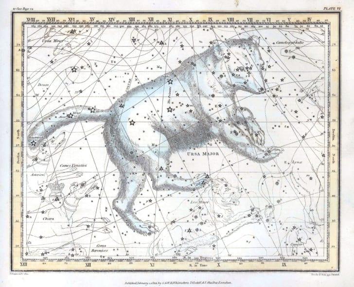 Vintage constellation map of Ursa Major