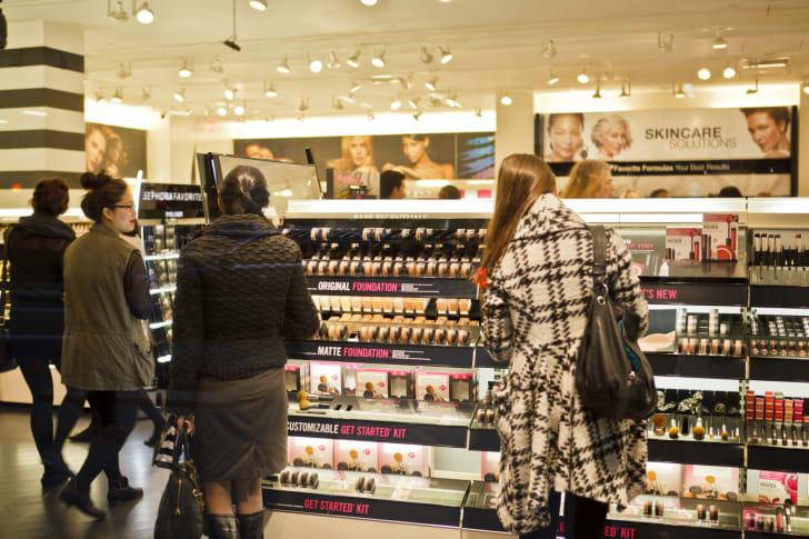Women shop for makeup at Sephora