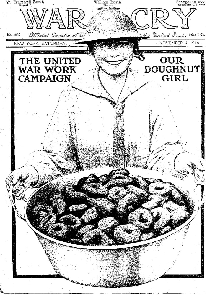 """Cover of the Salvation Army Magazine """"War Cry"""", November 9, 1918, depicting """"Doughnut Dollies""""- American volunteers serving in France"""