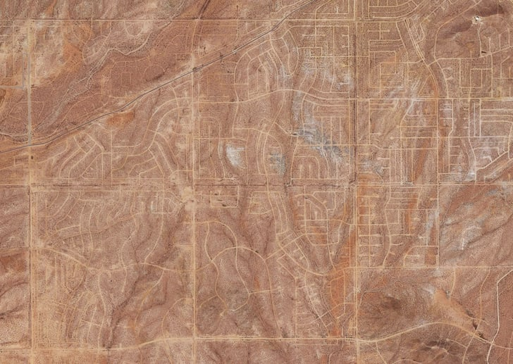 A satellite image of a city grid in the California desert
