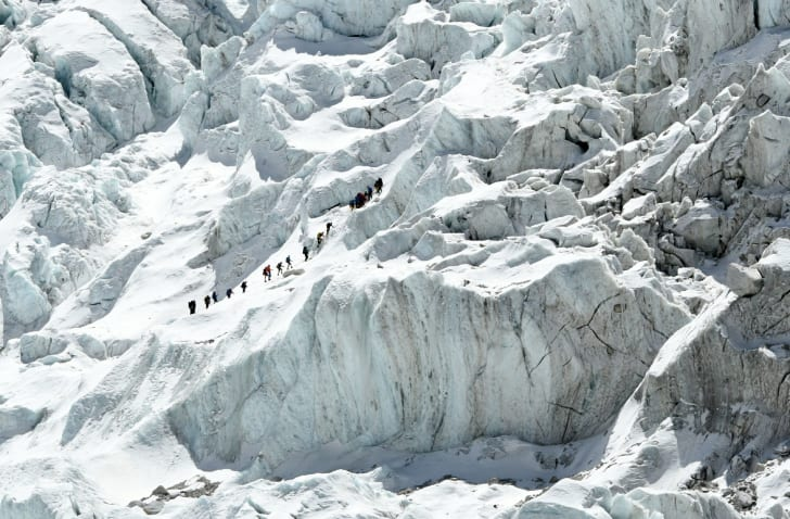 Climbers ascending the Khumbu Icefall on Mount Everest