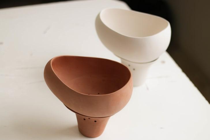 Two empty Gala pots