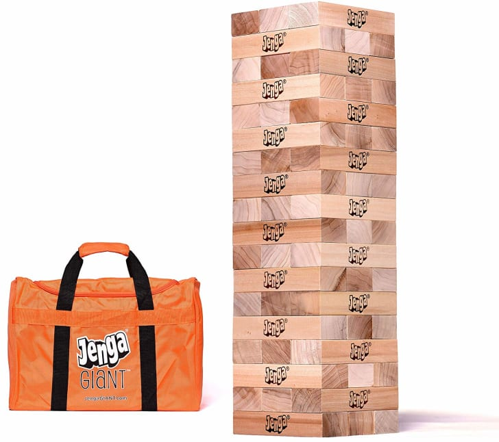 A 5-foot-tall Jenga tower