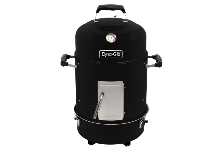 A black barbecue smoker