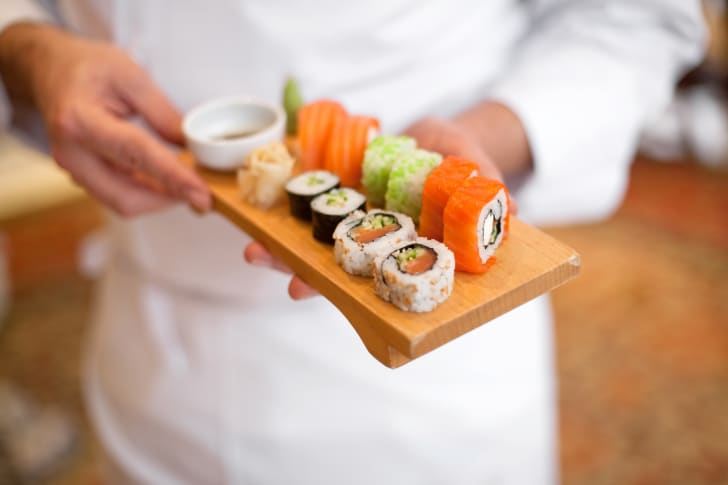 A plate of fresh sushi