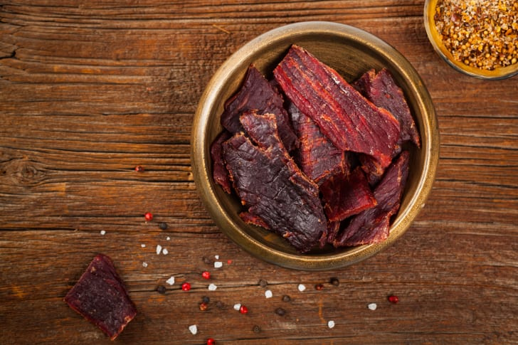 A bowl of beef jerky