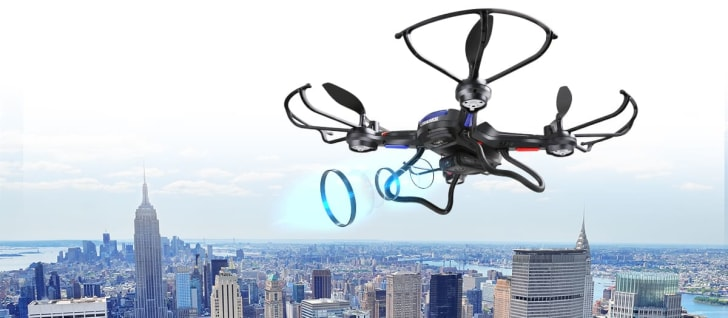 A Holy Stone RC quadcopter flying above New York City