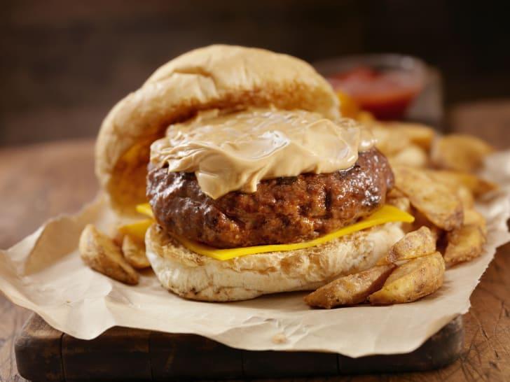 peanut butter on a hamburger
