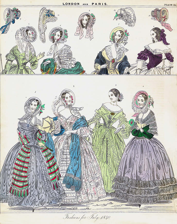 A drawing of Victorian fashions likely made with arsenic dyes