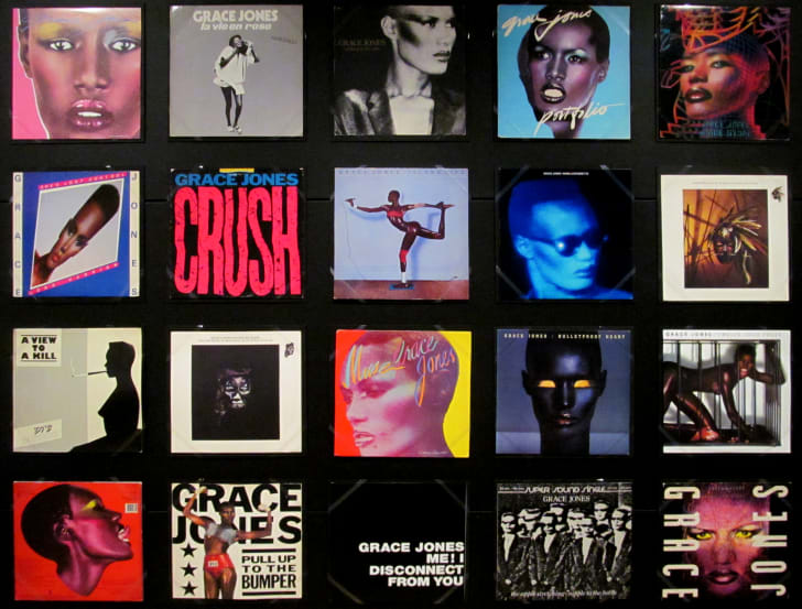 Covers of various Grace Jones albums and singles.
