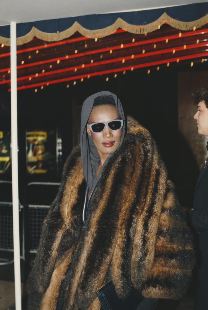 Grace Jones attends a movie premiere in 1984.
