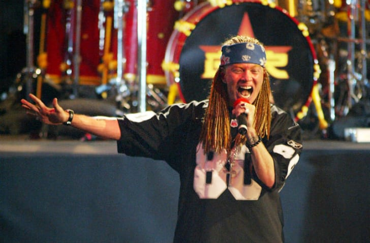 Axl Rose of Guns N' Roses is seen performing on stage