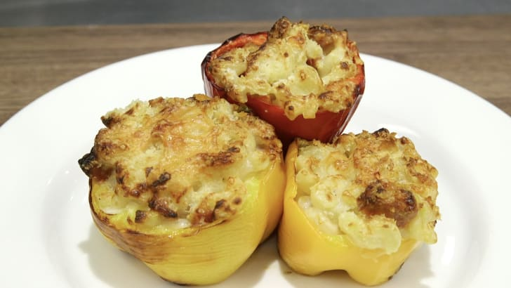 Macaroni and cheese stuffed peppers.
