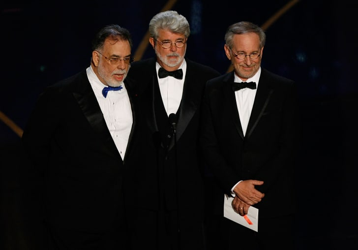 Directors Francis Ford Coppola, George Lucas, and Steven Spielberg present the award for Best Direction during the 79th Annual Academy Awards at the Kodak Theatre on February 25, 2007 in Hollywood, California
