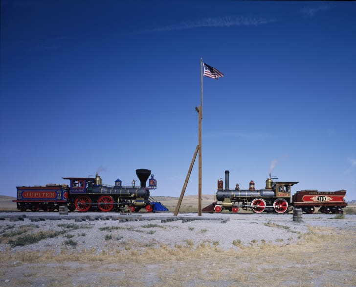 A meeting of the engines at the Golden Spike National Historic Site, Utah