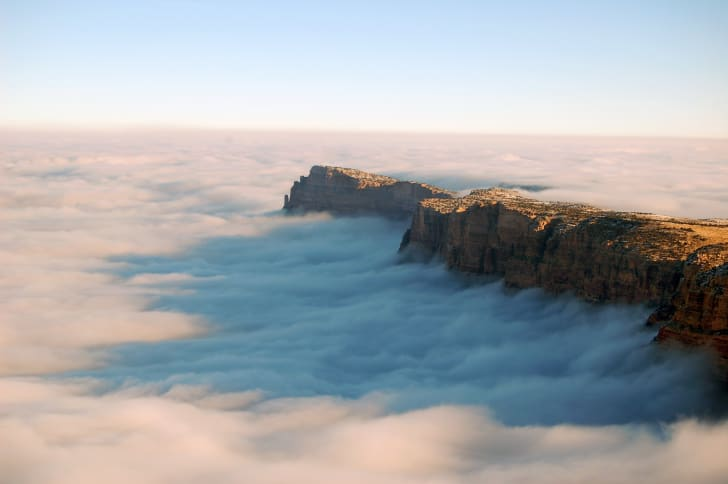 The Grand Canyon surrounded by clouds