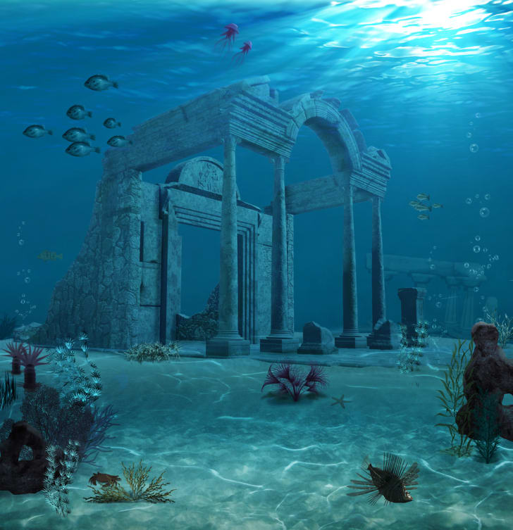 A representation of ancient Atlantis ruins underwater
