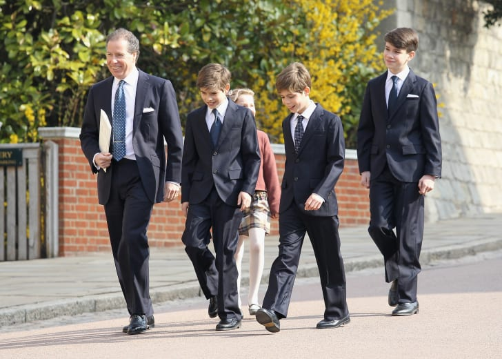 Viscount Linley (L) with his children Margarita Armstrong-Jones, Charles Patrick Inigo Armstrong-Jones, and nephews Samuel Chatto and Arthur Chatto arrive for a thanksgiving service for the Queen Mother and Princess Margaret at St George's Chapel in 2012