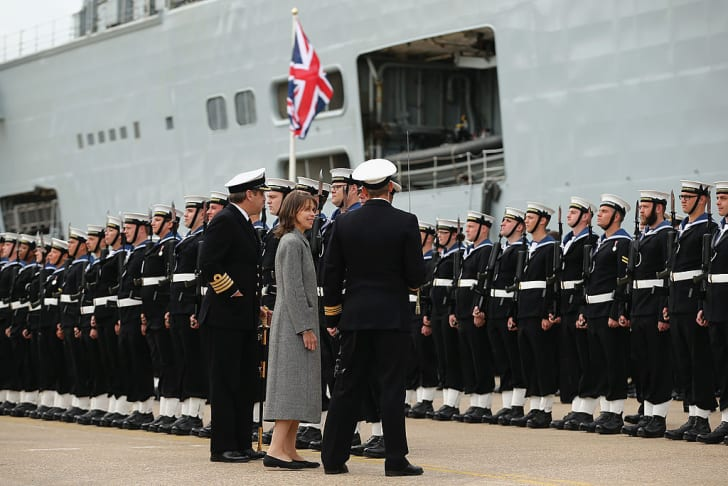 Lady Sarah Chatto inspects the Company of the HMS Illustrious as they stand in formation during her decommissioning ceremony on August 28, 2014 in Portsmouth, England