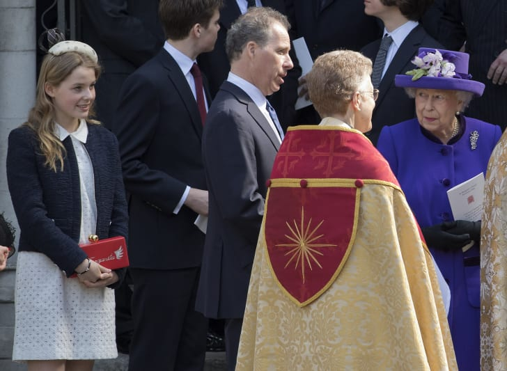 Lady Margarita Armstrong-Jones and Queen Elizabeth leave a Service of Thanksgiving for the life and work of Lord Snowdon at Westminster Abbey on April 7, 2017