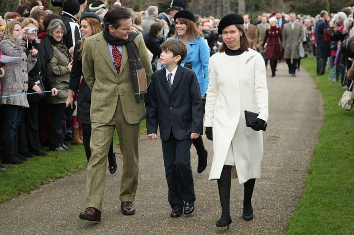 Daniel Chatto, Lady Sarah Chatto and Samuel Chatto attend the Christmas Day Church Service at St Mary's Church on December 25, 2008 in Sandringham, England
