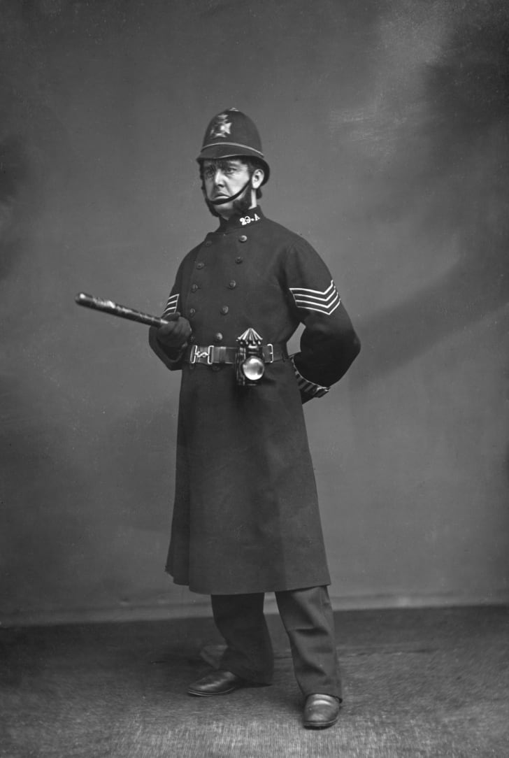 A actor dressed as an English policeman, circa 1880.