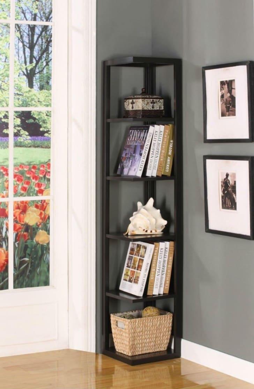 A King's Brand corner bookshelf in a living room