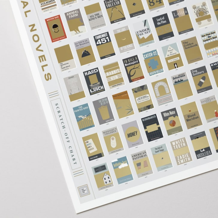 A poster depicting the cover of famous novels in gold scratch-off foil