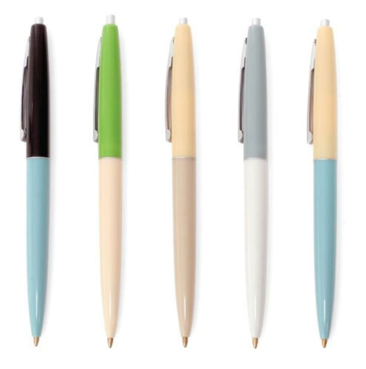 Five retro-looking pens